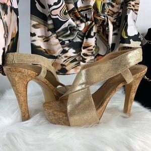 Diane von furstenberg  gold Zia heels 8.5 M